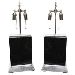 Pair of Deco Style Black Obsidian Marble Lamps on Slivered Wood Bases