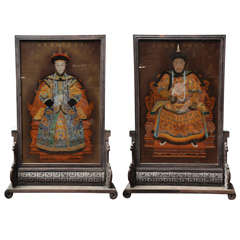 Pair of Decorative Chinese Reversed Painting on Glass Screens