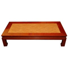 Japanese Keyaki Wood Table with Woven Bamboo Top