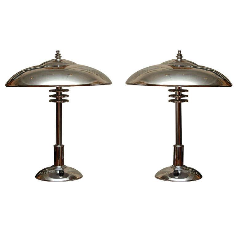 Pair of Chrome Art Deco Desk Lamps