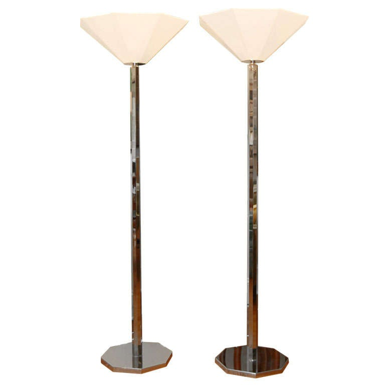 Pair of Chrome Deco Torcheres