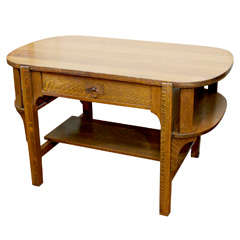 Arts and Crafts Oak Library Table/Desk
