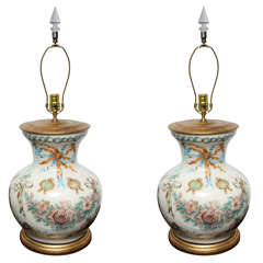 Pair of Reverse Decoupage Glass Lamps