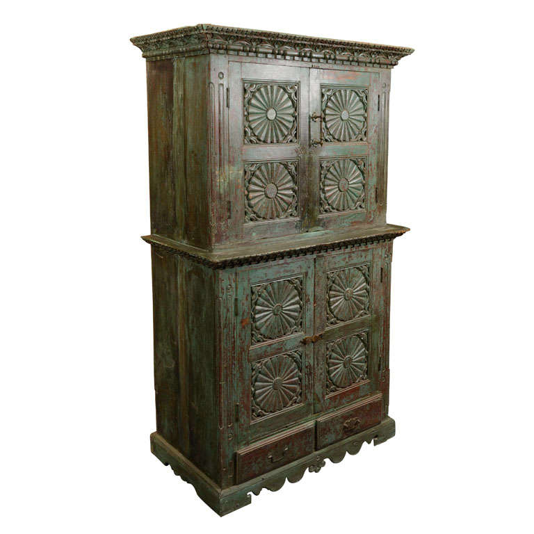 two tiered colonial armoire at 1stdibs. Black Bedroom Furniture Sets. Home Design Ideas