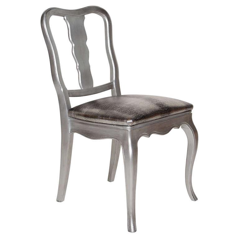 ... Silver Vanity Chair By Antique Silver Leaf And Embossed Metallic Croc  Vanity Or ...