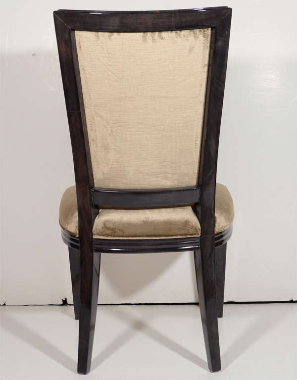 Mid-20th Century Pair of Elegant Hollywood Regency High Back Chairs in Velvet For Sale