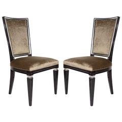 Pair of Elegant Hollywood Regency High Back Chairs in Velvet