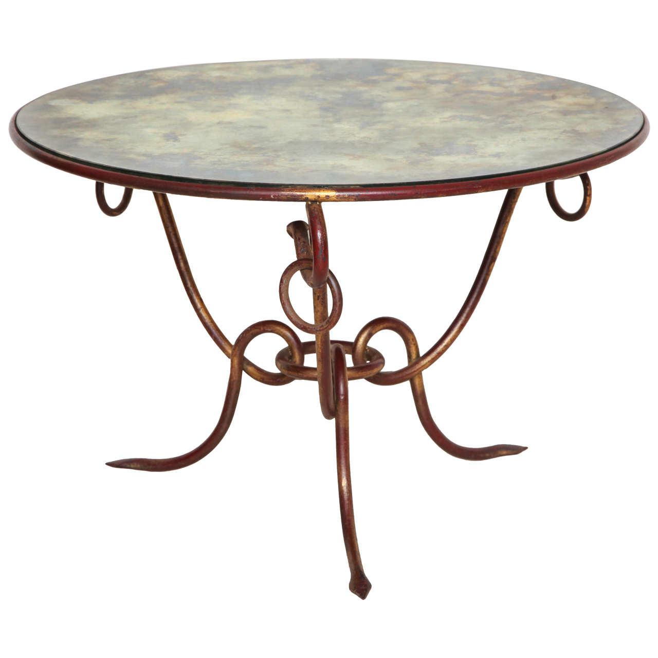 Iconic Round Gilt Iron Table With Mirrored Top By Rene Drouet France Circa 1940 At 1stdibs