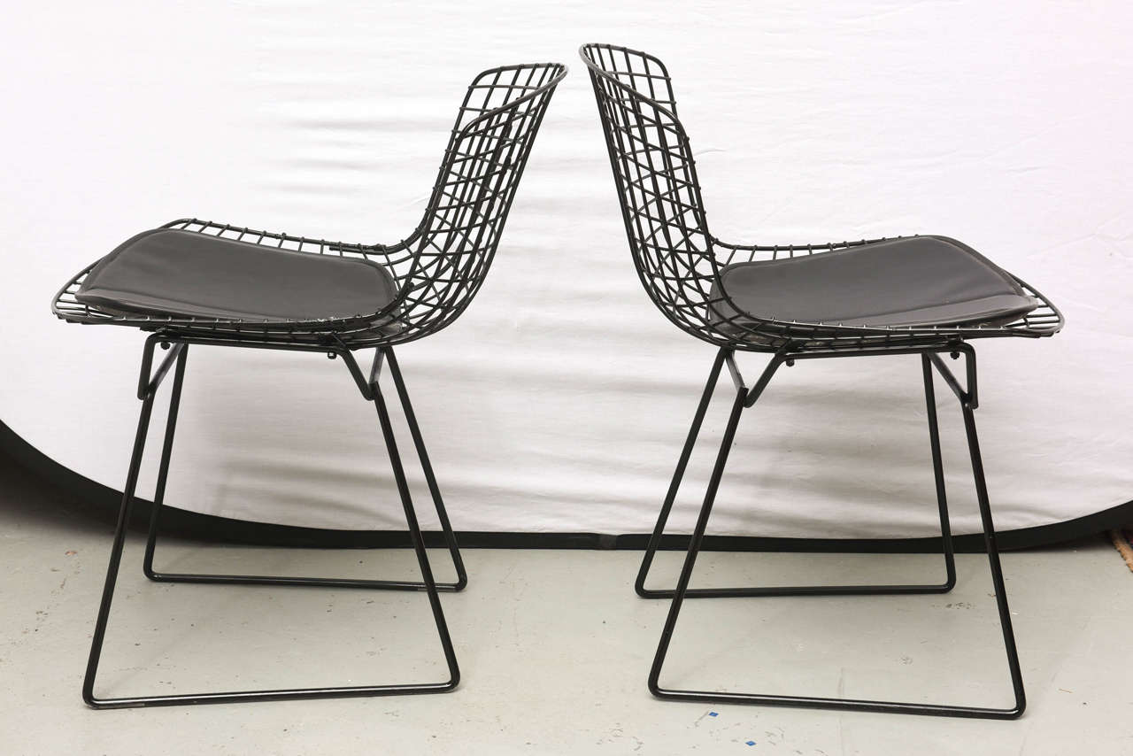 Bertoia Wire Chairs with Black Leather Knoll Cushions, 1960s, USA 4