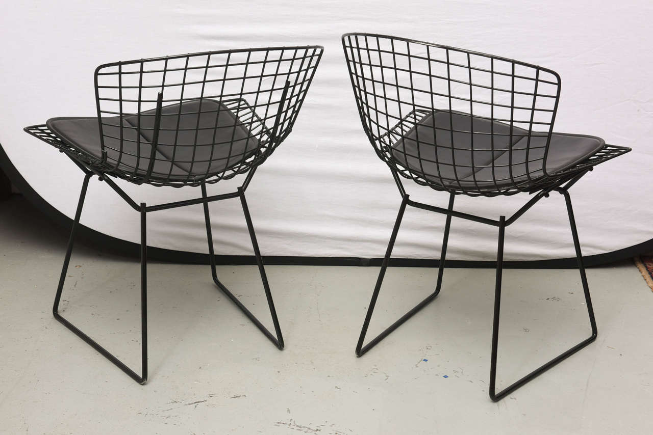 Bertoia Wire Chairs with Black Leather Knoll Cushions, 1960s, USA 5