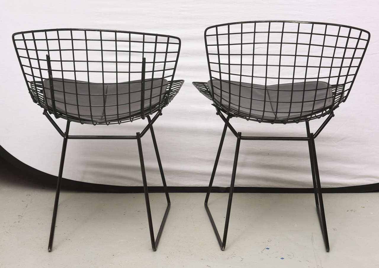 Bertoia Wire Chairs with Black Leather Knoll Cushions, 1960s, USA 6