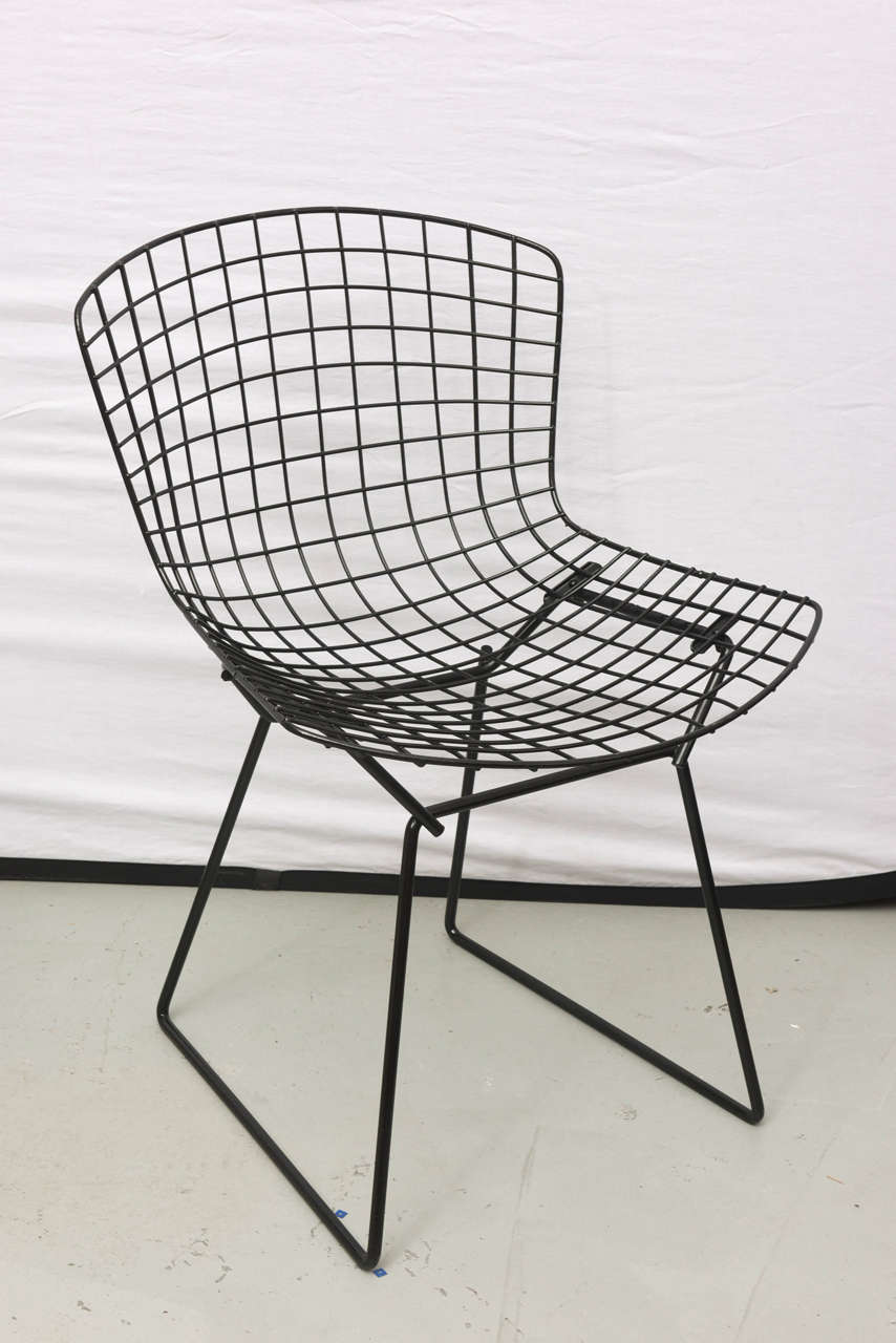 Bertoia Wire Chairs with Black Leather Knoll Cushions, 1960s, USA 8