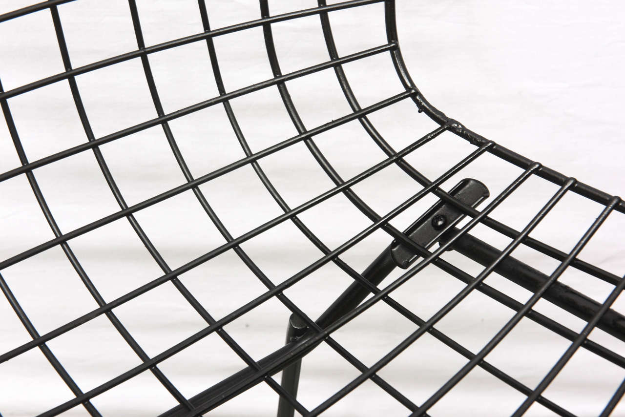 Bertoia Wire Chairs with Black Leather Knoll Cushions, 1960s, USA 10