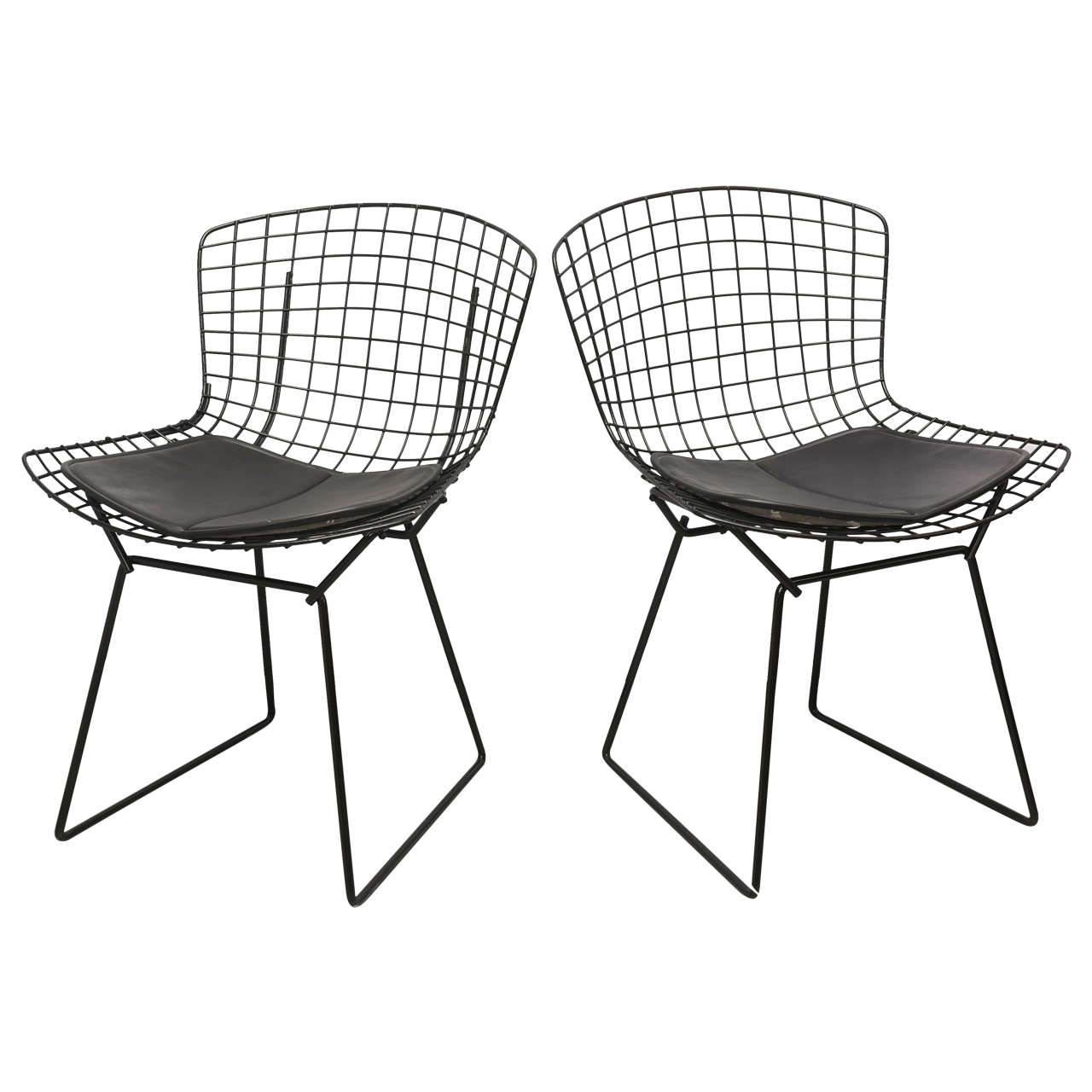 Bertoia Wire Chairs with Black Leather Knoll Cushions, 1960s, USA 1