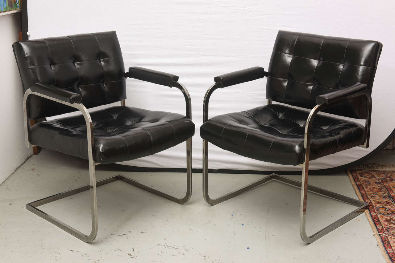 Merveilleux American Milo Baughman Style Chrome Lounge Chairs By Patrician Furniture,  USA, 1960s For Sale