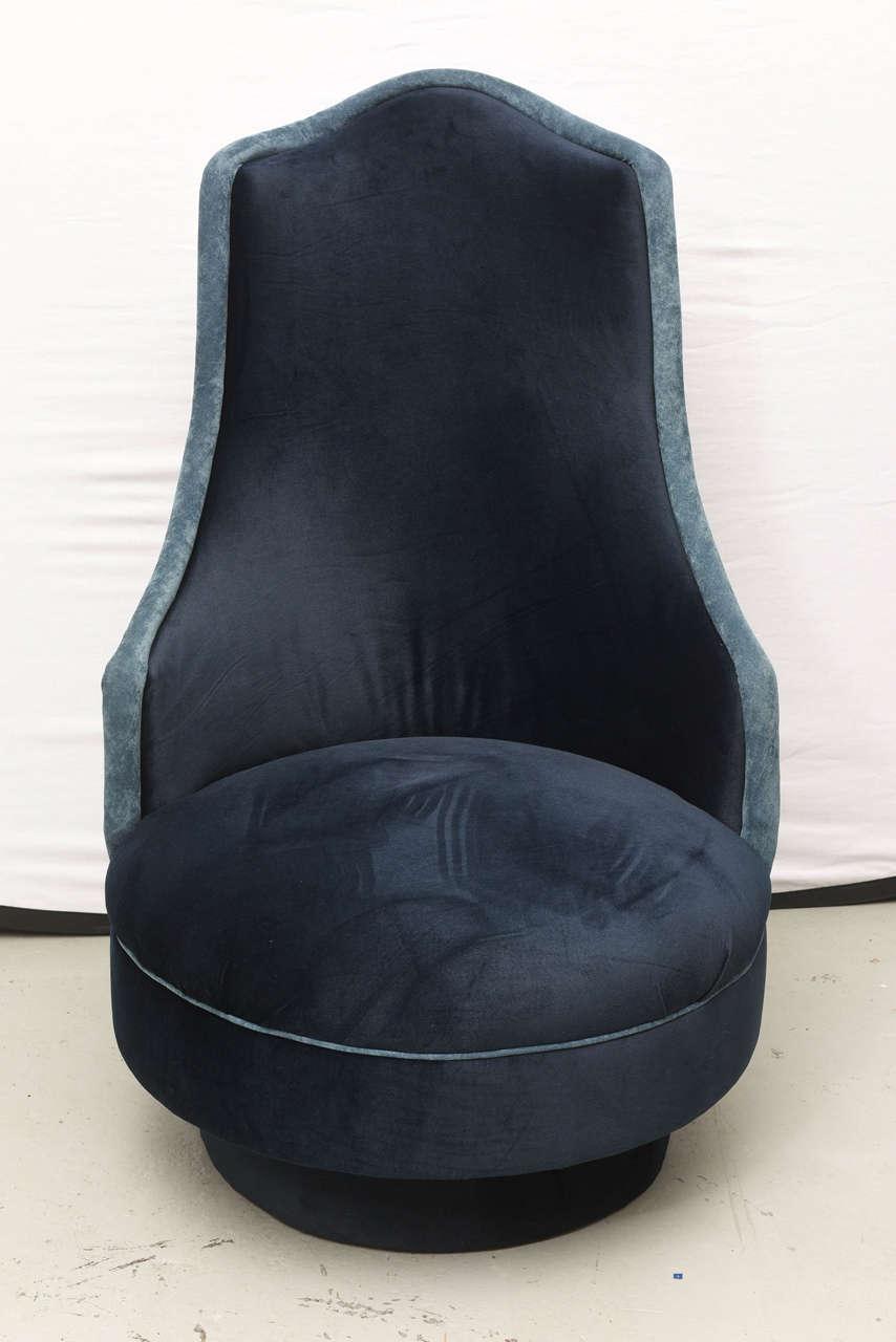 Gorgeous two-toned blue velvet Adrian Pearsall high-back swivel chairs in blue velvet.  USA, 1960s