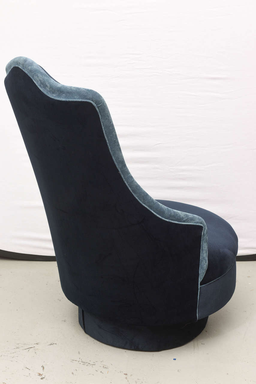 Two-Toned High-Back Adrian Pearsall Swivel Chair in Velvet, 1960s, USA For Sale 1
