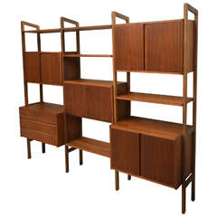 Mid-Century Modern Teak Wall Unit or Storage, 1950s Scan Style