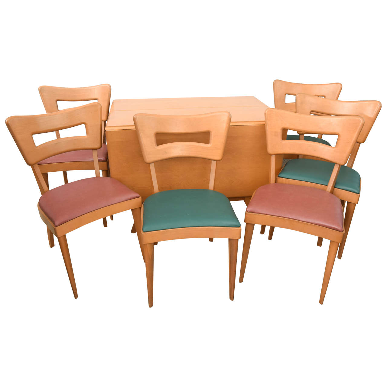 heywood wakefield extension dining table and six chairs at 1stdibs