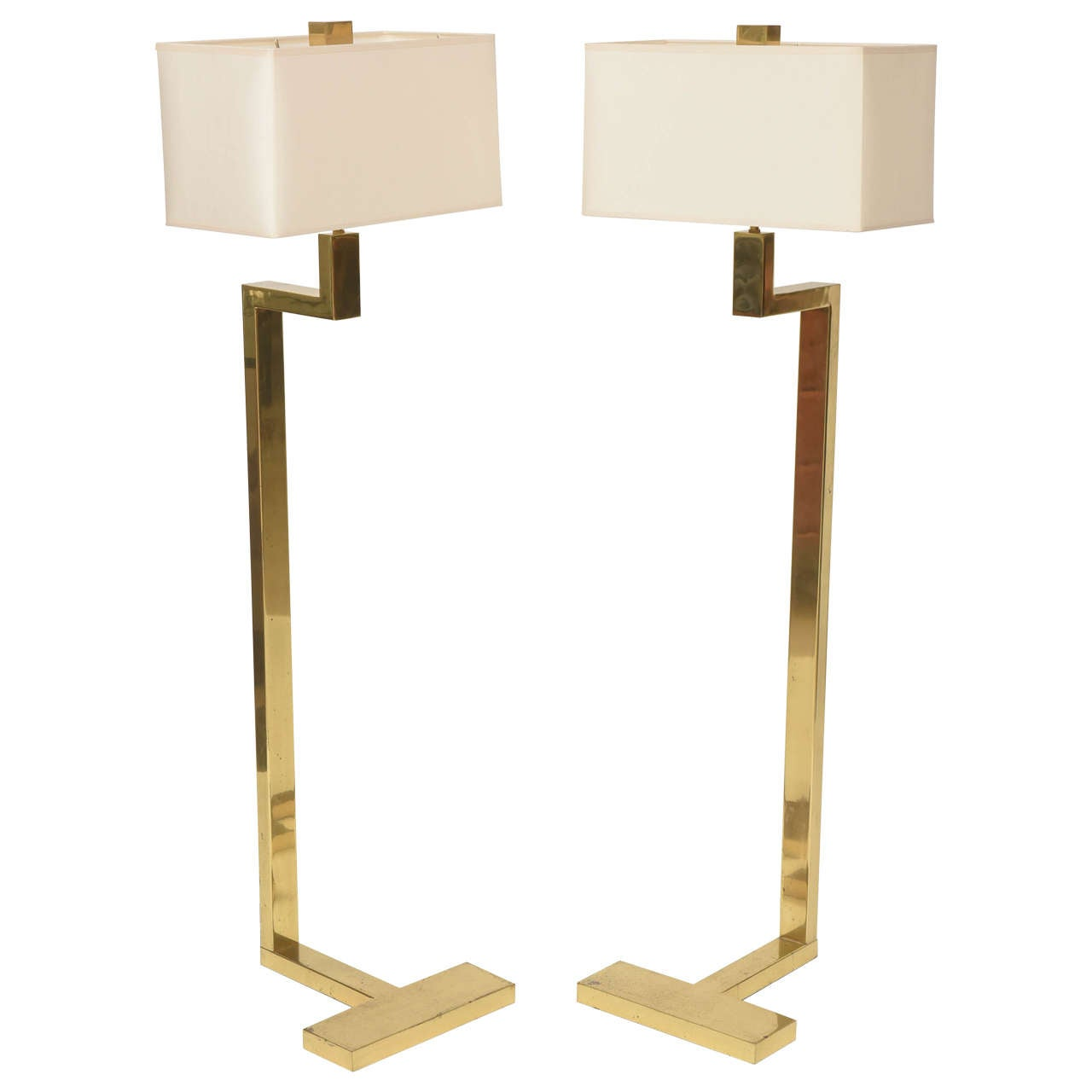 Pair of French Modern Brass Floor Lamps, Jacques Quinet
