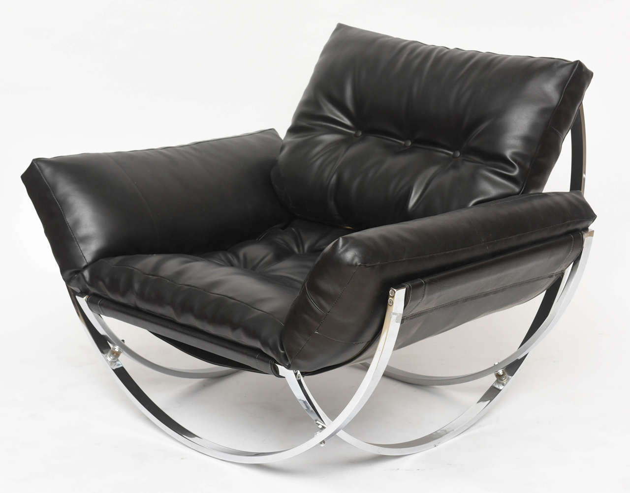 Italian Modern Polished Chrome And Leather Chair By