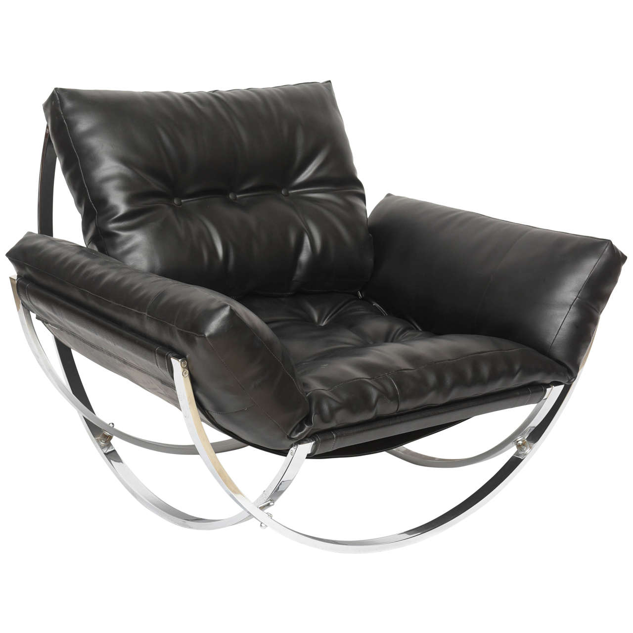 Italian Modern Polished Chrome And Leather Chair By Stendig For