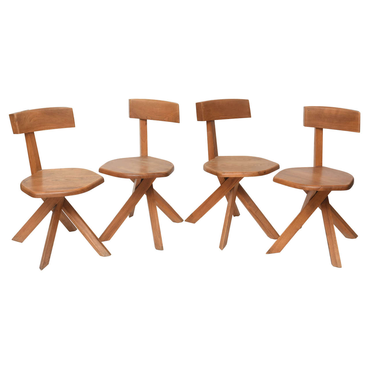 Set of Four Unusual French Modern Oak Chairs, Pierre Chapo
