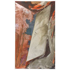 American Expressionist Oil, Glass and Mixed Media Painting, Laddie John Dill