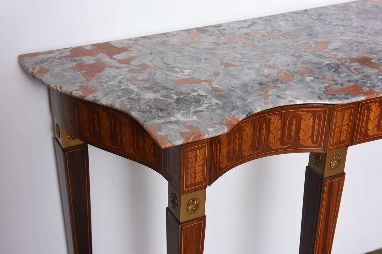 Mid-Century Modern Italian Modern Inlaid Walnut, Bronze-Mounted and Marble Console by Paolo Buffa For Sale