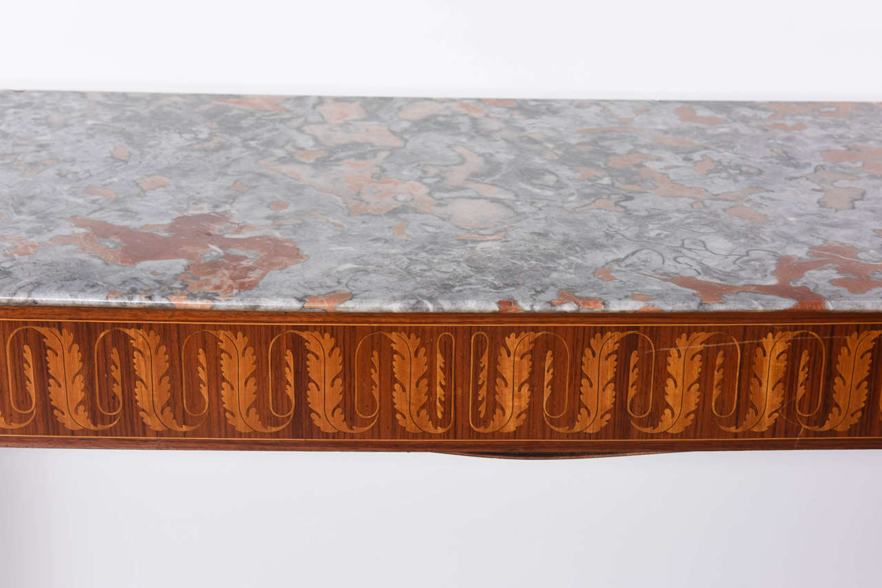 Italian Modern Inlaid Walnut, Bronze-Mounted and Marble Console by Paolo Buffa In Excellent Condition For Sale In Miami, FL