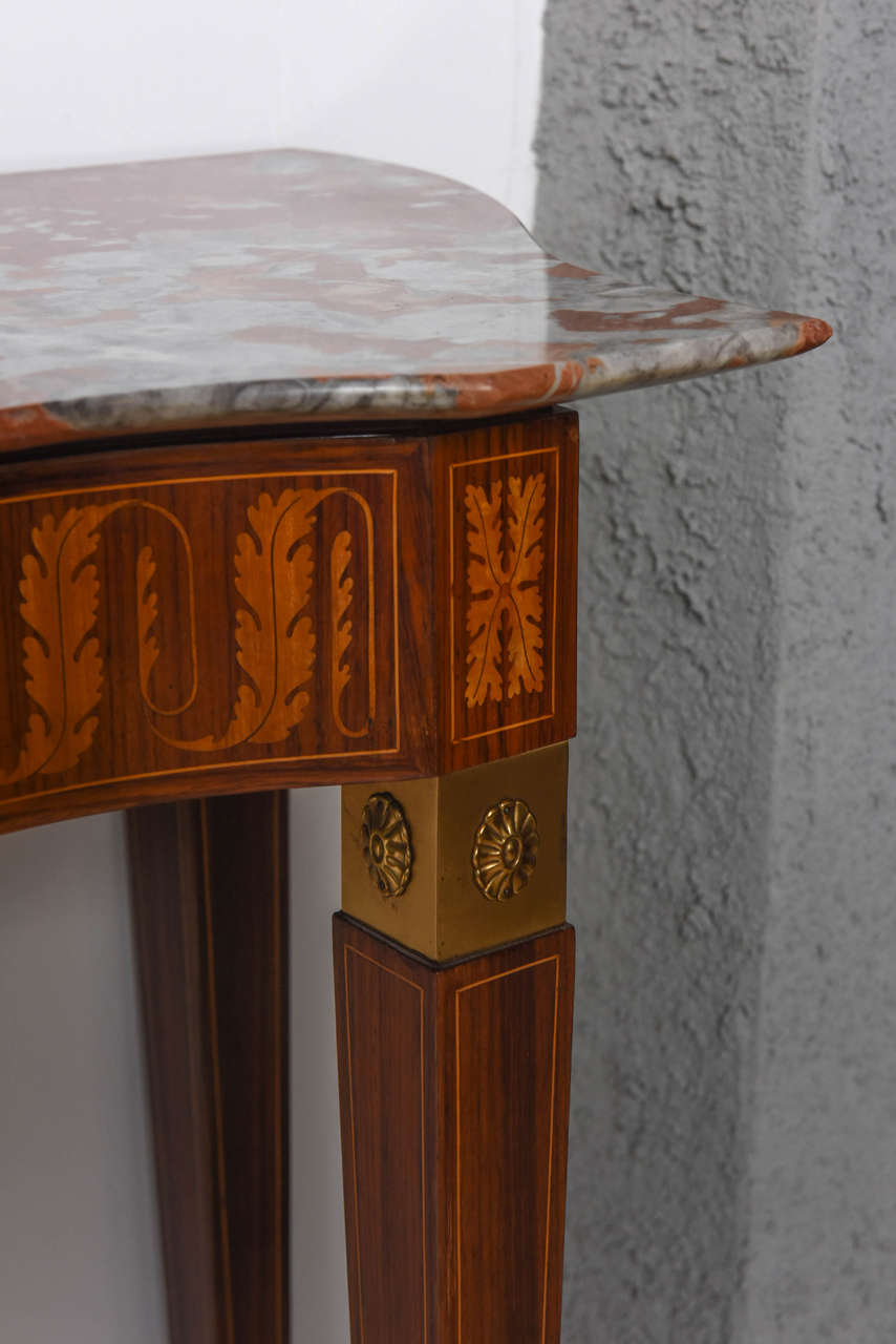 Mid-20th Century Italian Modern Inlaid Walnut, Bronze-Mounted and Marble Console by Paolo Buffa For Sale