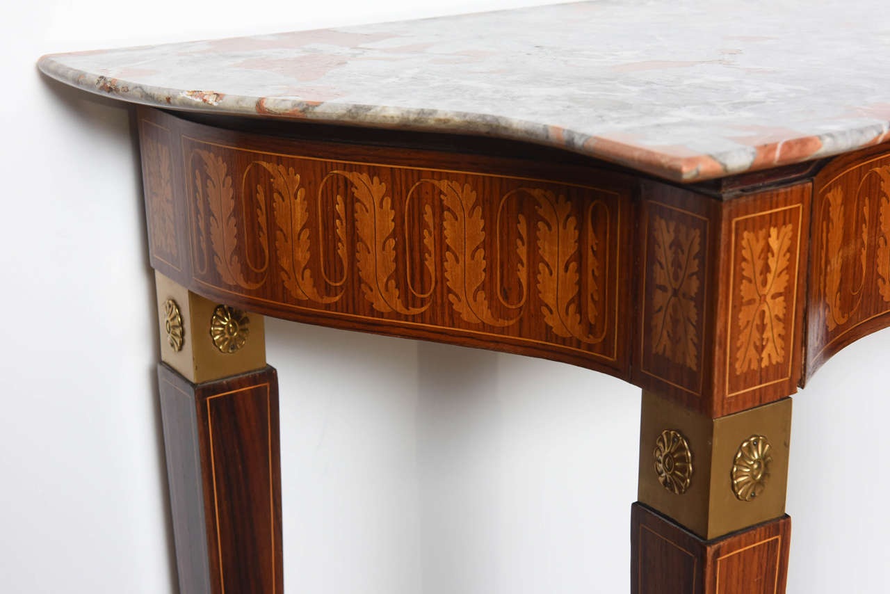Italian Modern Inlaid Walnut, Bronze-Mounted and Marble Console by Paolo Buffa For Sale 2