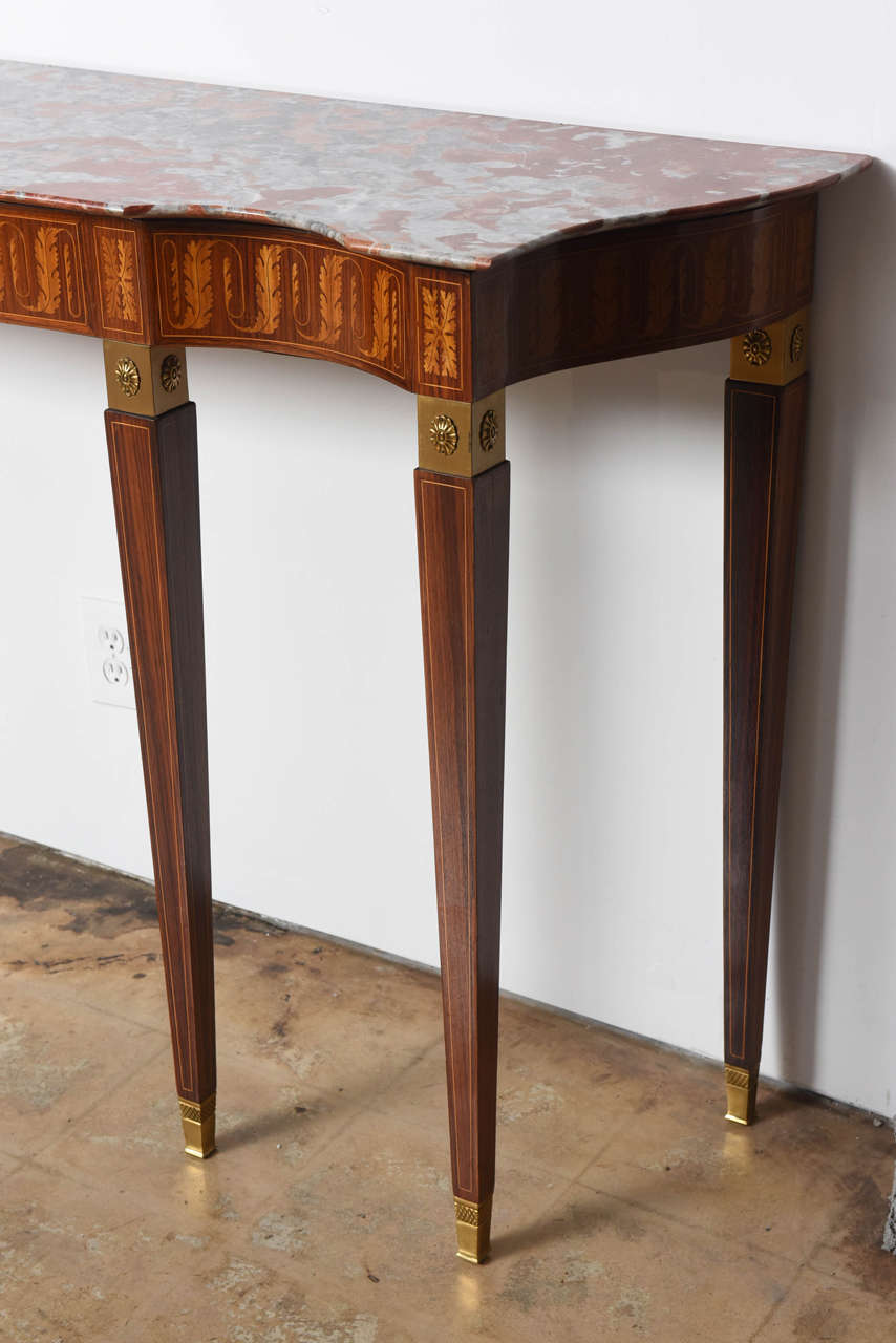 Italian Modern Inlaid Walnut, Bronze-Mounted and Marble Console by Paolo Buffa For Sale 4