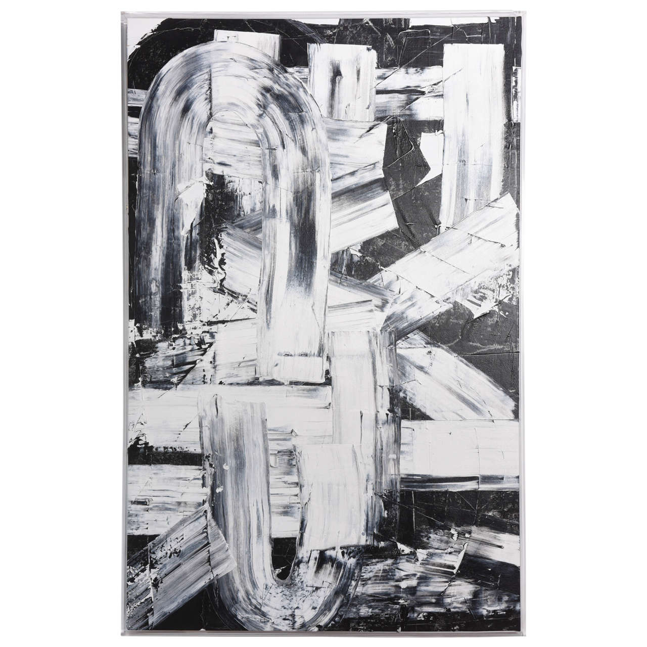 Renato Freitas Original Oil on Canvas, 2015, Black and White 2 For Sale