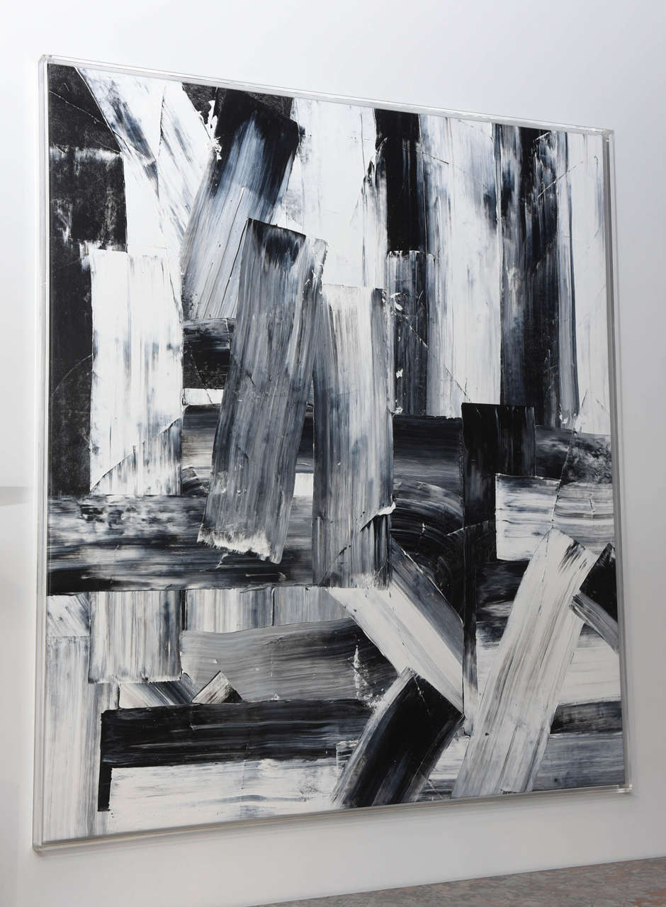 An abstract expressionist oil on canvas.