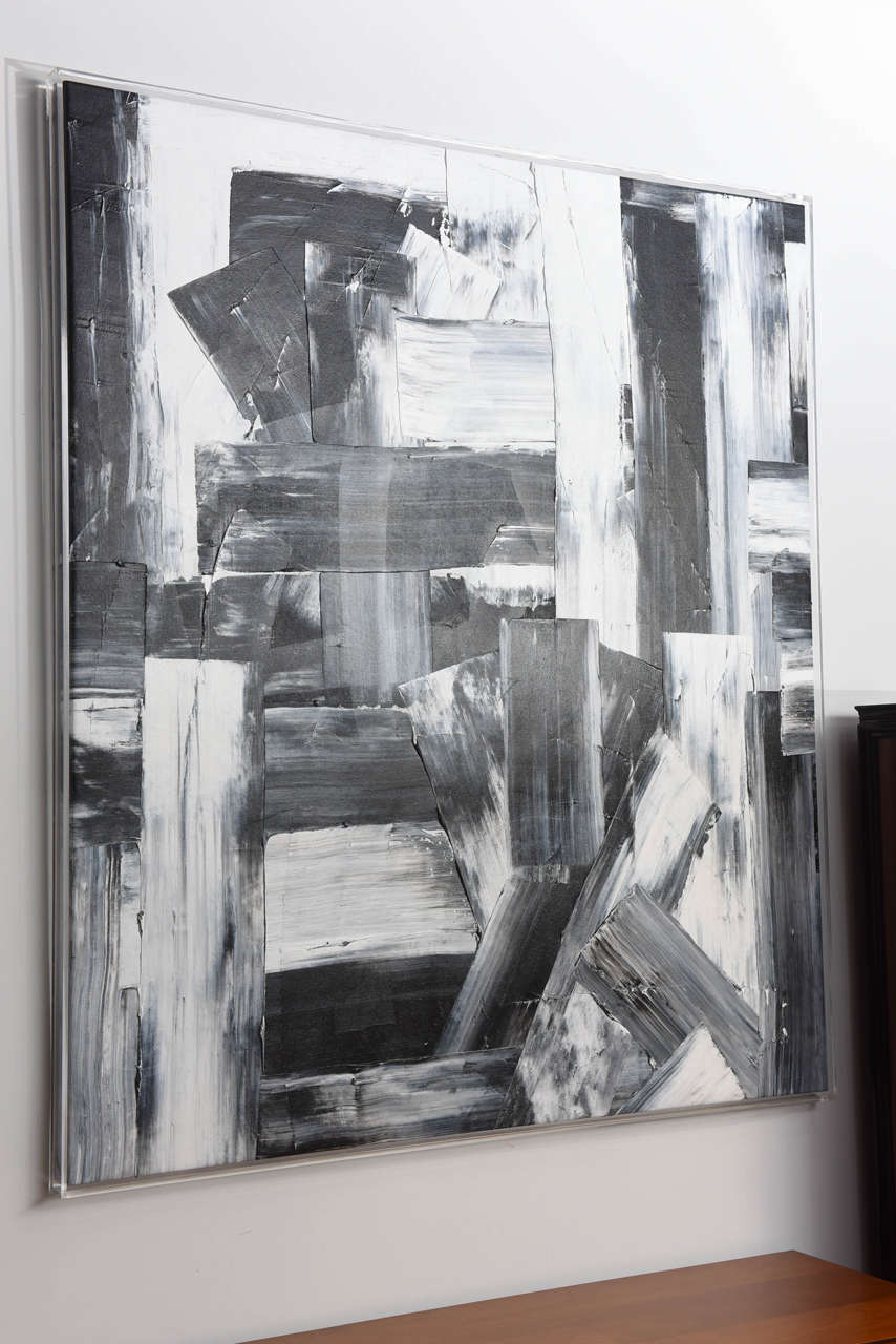 Expressionist Renato Freitas Original Oil on Canvas, 2015, Black and White 3 For Sale