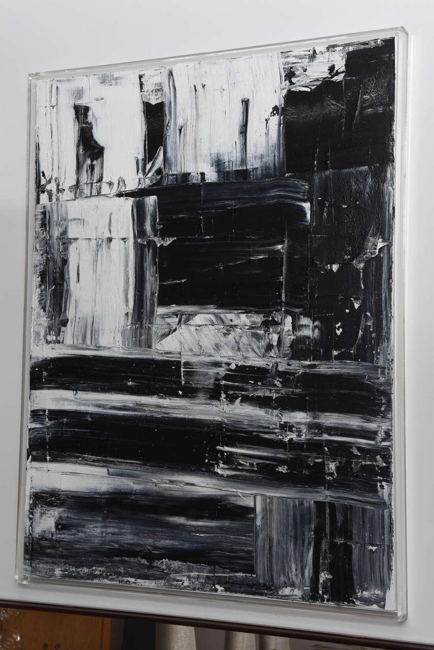 Expressionist Renato Freitas Original Oil on Canvas, 2015, Black and White 1 For Sale