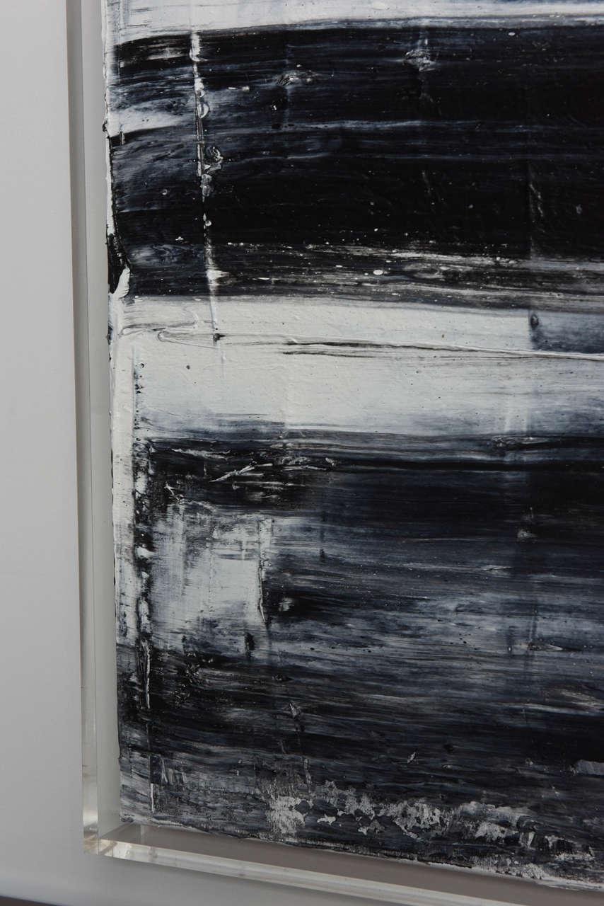 Renato Freitas Original Oil on Canvas, 2015, Black and White 1 In Excellent Condition For Sale In Miami, FL