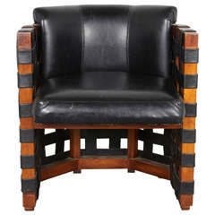 Midcentury Webbed Leather and Wood Chair