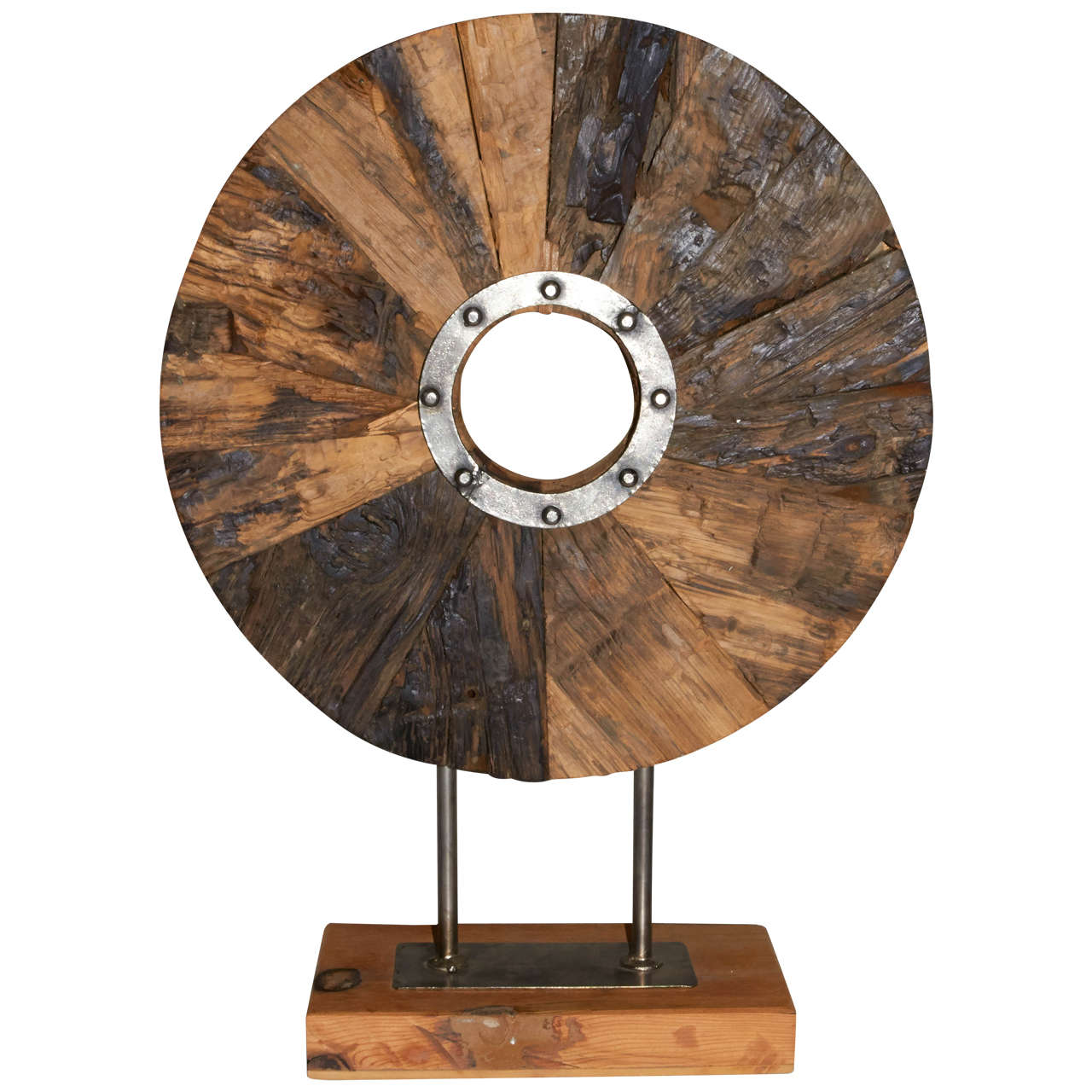 Industrial wood and metal sculpture on stand for sale at