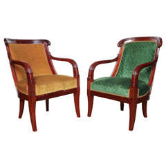 Pair of Similar Mahogany 19th Century Restoration Armchairs