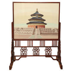 Chinese Two-Sided Silkwork Screen of the Temple of Heaven
