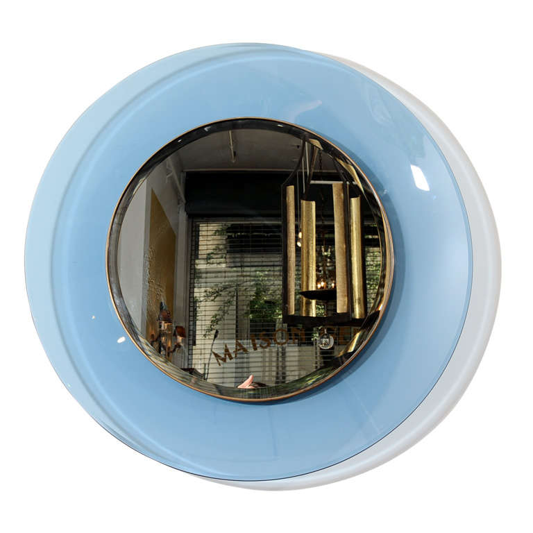 Large round mirror with blue tinted glass at 1stdibs for Big circle mirror