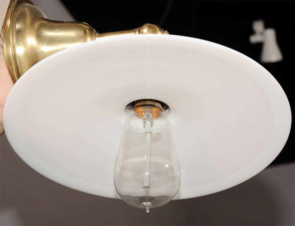 Milk Glass Wall Lamps : Pair of Vintage Brass Wall Lamps with Milk Glass Disk Shades For Sale at 1stdibs
