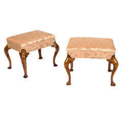 Pair of 19th Century Walnut Stools with Cabriole Legs and Trifid Feet