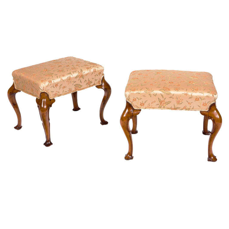 Pair of 19th Century Walnut Stools with Cabriole Legs and Trifid Feet For Sale
