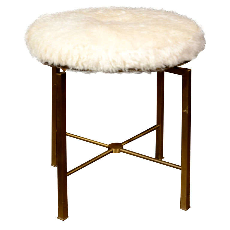 Bronze Vanity Stool With Mohair Cushion American 1950s At
