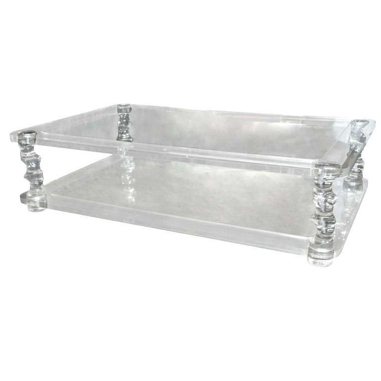 Unusually Large Lucite Rectangular Coffee Table Mid Century At 1stdibs
