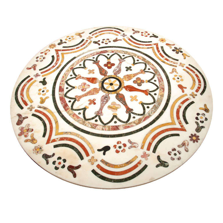 Antique Inlaid Marble Table : Antique italian inlaid marble table top for sale at stdibs