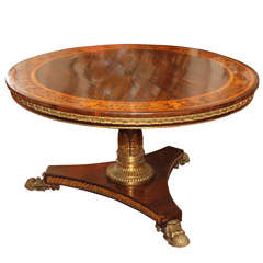 English Regency Bronze Mounted Rosewood Inlaid Center Table